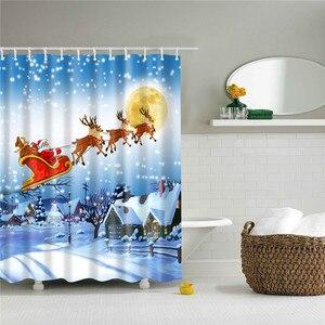 Image 5 - 180*180cm Waterproof Shower Curtain for Bathroom Christmas Print Bathtub Curtains Decoration Polyester Bath Curtain 1PC