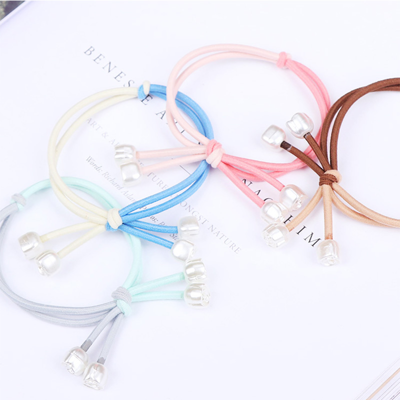 1PC New Elegance Women Elastic Hair Rubber Bands Colorful Knot Small Rose Pearl Girls Hair Ropes Hair Accessories Tie Gums  5pcs lot new kids small hair ropes candy colors elastic hair bands rubber bands girls ponytail holder hair accessories tie gums