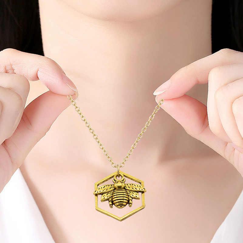 ファッションジュエリーハニカム蜂ネックレスペンダント中空六角ハイブ女性の宝石動物ペンダントチョーカーネックレス