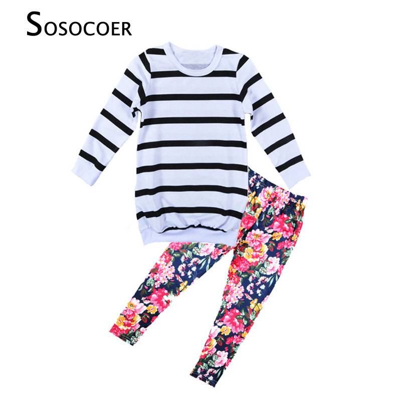 SOSOCOER Girl Clothing Sets New 2017 Spring Autumn Stripe T Shirt+Flowers Leggings Pants 2pcs Clothing Set For Kids Baby Clothes
