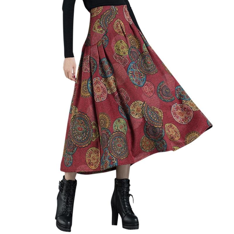 2019 Autumn Ethnic Women Long Skirt Contrast Floral Print High Waist Skirts Zipp