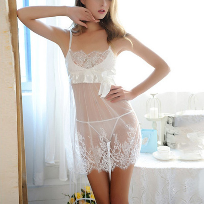 Female Babydoll Sleepwear Women Costumes Lace Lingerie Plus Size 3XL G-string Sexy Nightwear Underwear