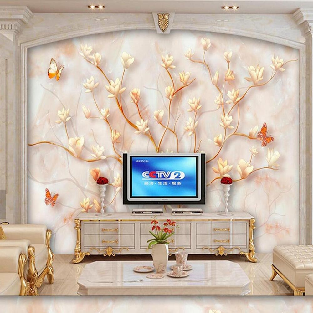 Marble Yulan Magnolia Flower Butterfly Mural Photo Wall Mural 3d Photo Wallpaper Living Room Wall Art Decor Sticker Wallcovering