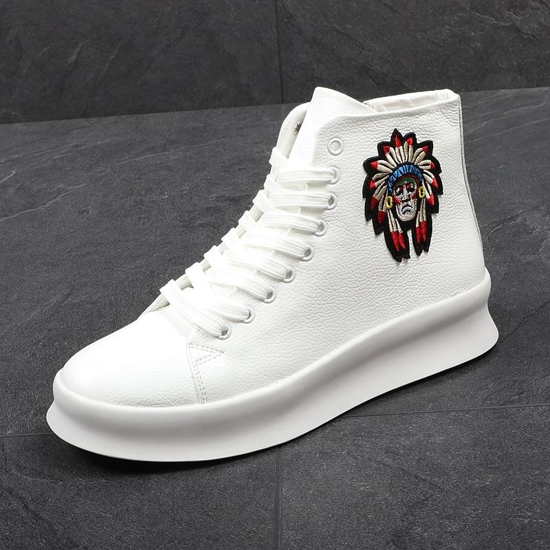 CUDDLYIIPANDA nouvelle mode haut haut chaussures décontractées pour hommes printemps automne Rivets respirant Oxfords Zip baskets Zapatos Hombre