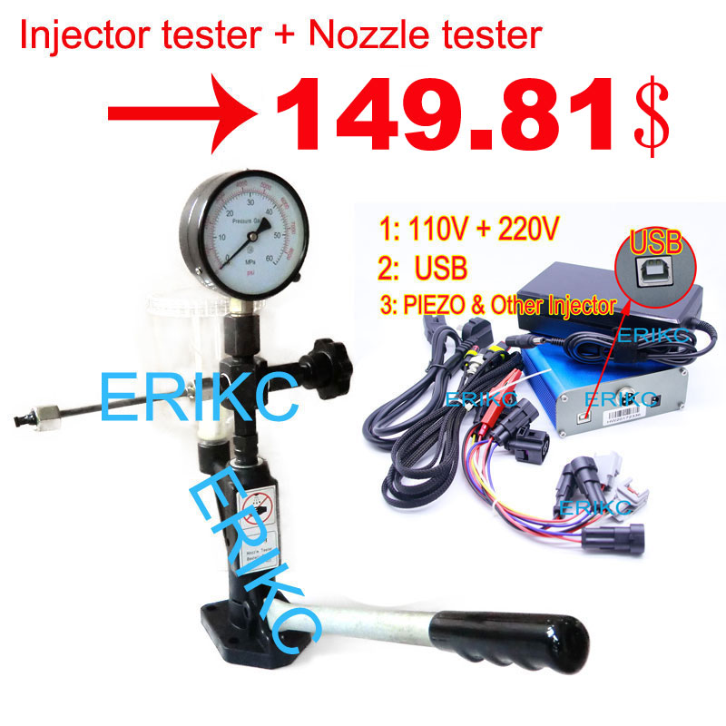 ERIKC Diesel Injector Test and Calibrating Hand Pump Pump Injector Calibration and Piezo Injector Nozzle Tester