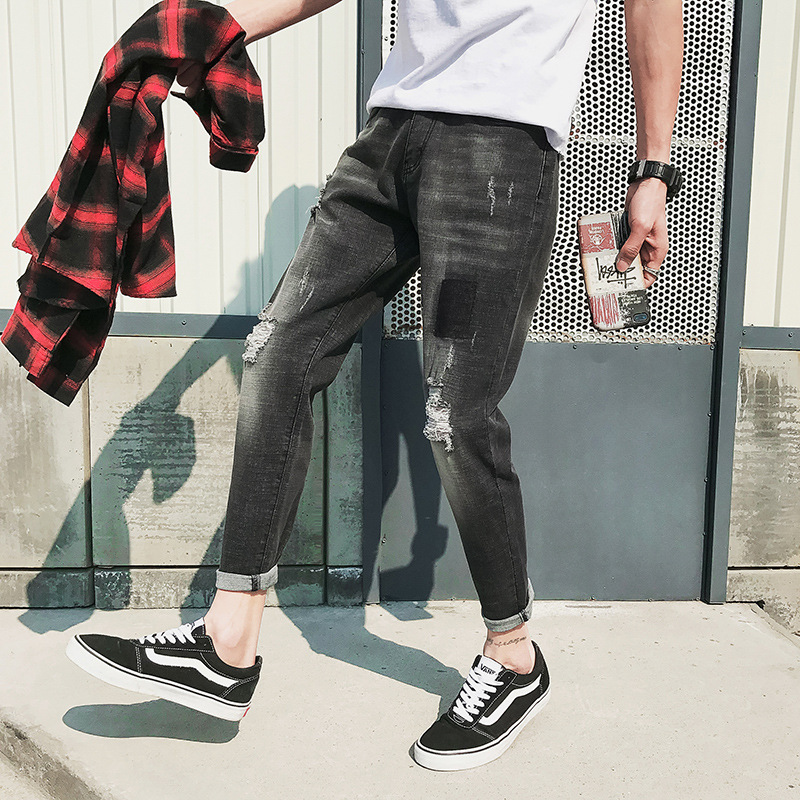 Spring and summer new mens stretch jeans mens Korean version of slim fit leggings mens trend holes jeans mens