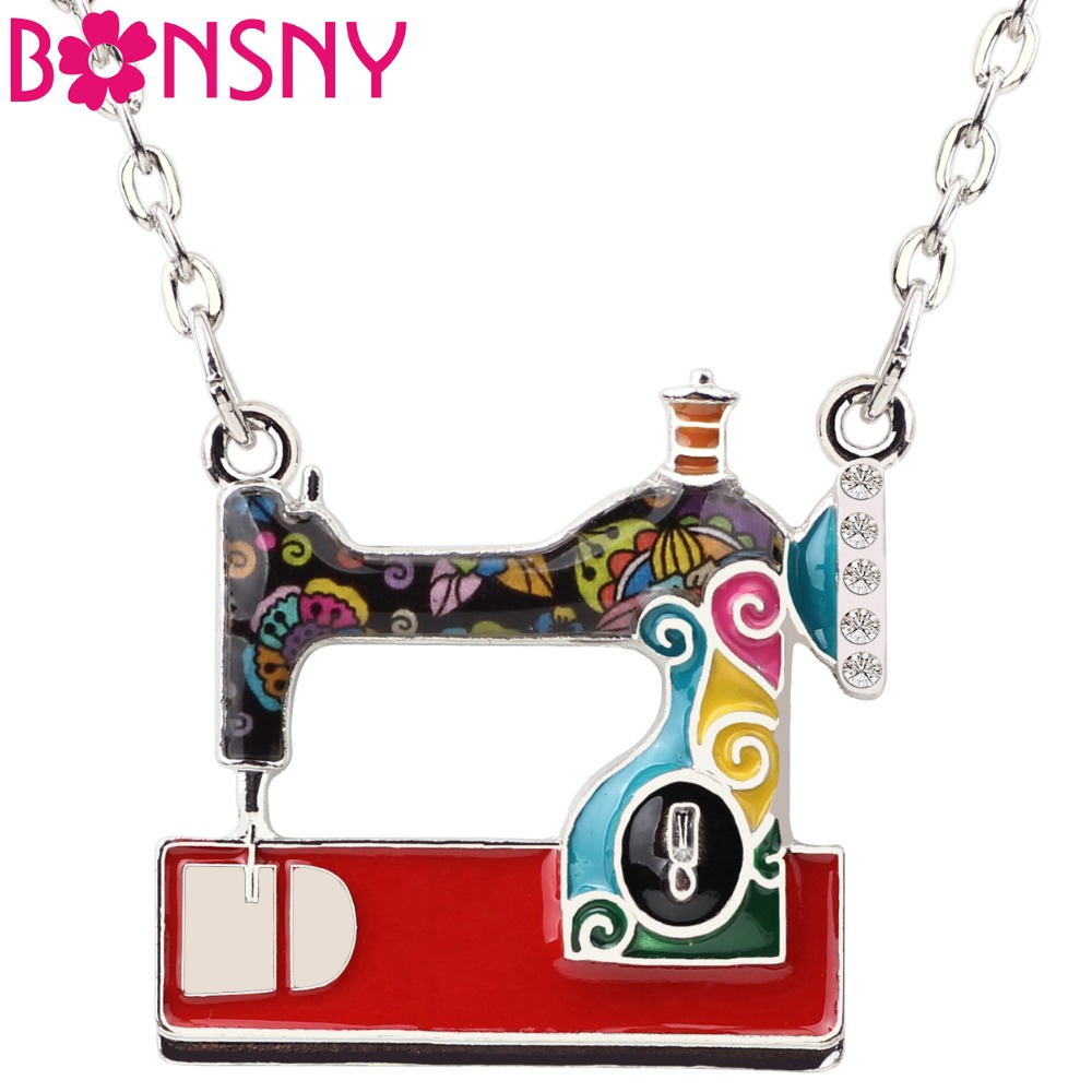 Bonsny Statement Enamel Alloy Sewing Machine Necklaces Penda