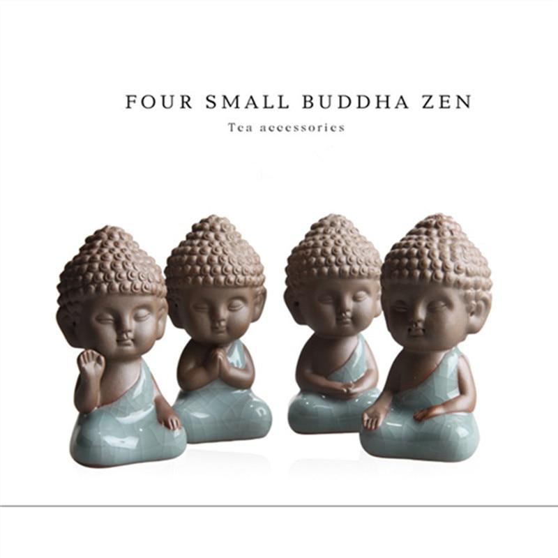2 pcs 4pcs Buddha statues tea pet ornaments boutique decoration Buddhism monk buddhist home decor figurines statue figure rones