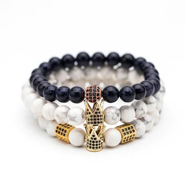 Black & White Natural stone Bead Men's bracelets High quality Crystal Crown Natu
