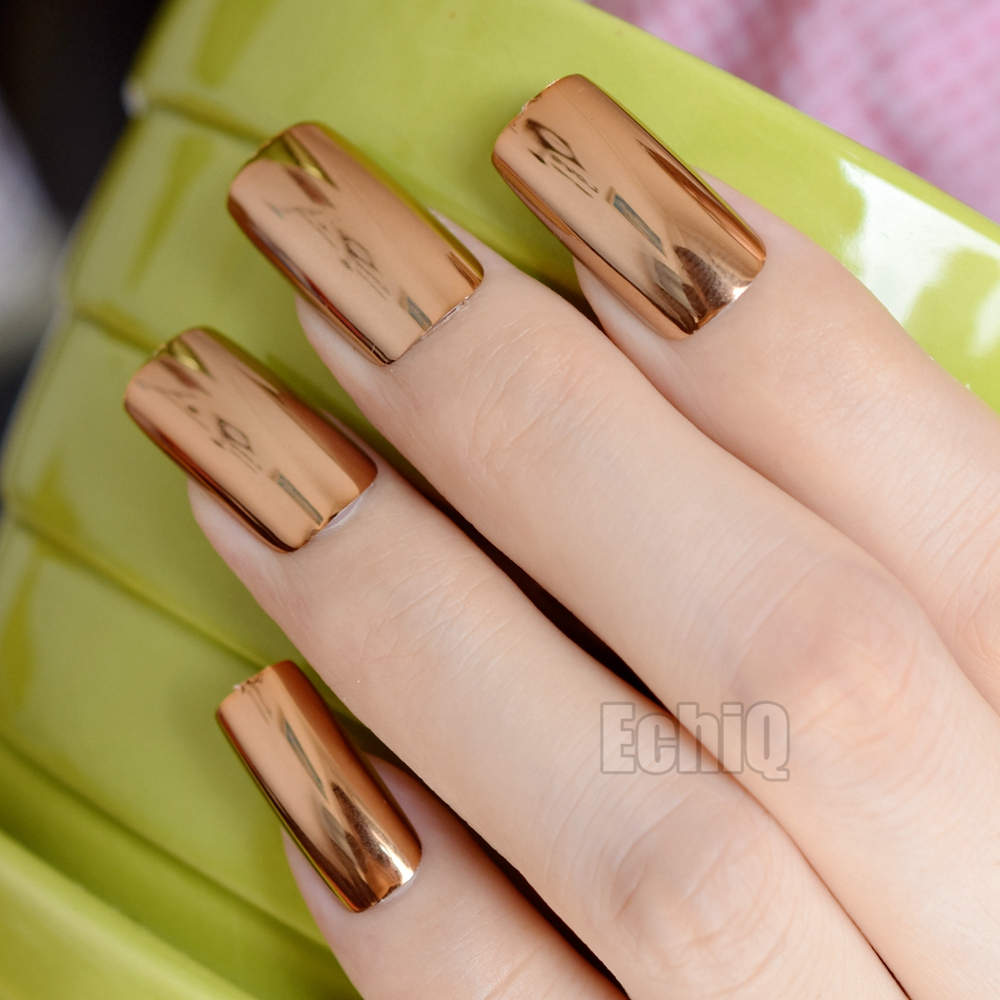 Extra Long Press On Nails Glossy Champagne Mirror Acrylic Nail Tips ...