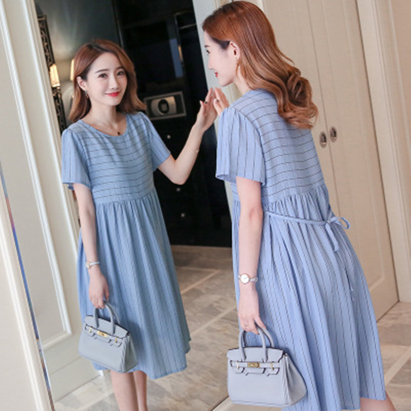 70b3088384 gjsxyl Summer Fashion Striped Chiffon Maternity Dress Stylish Clothes for Pregnant  Women Ties Waist Elegant Pregnancy Office Wea-in Dresses from Mother ...
