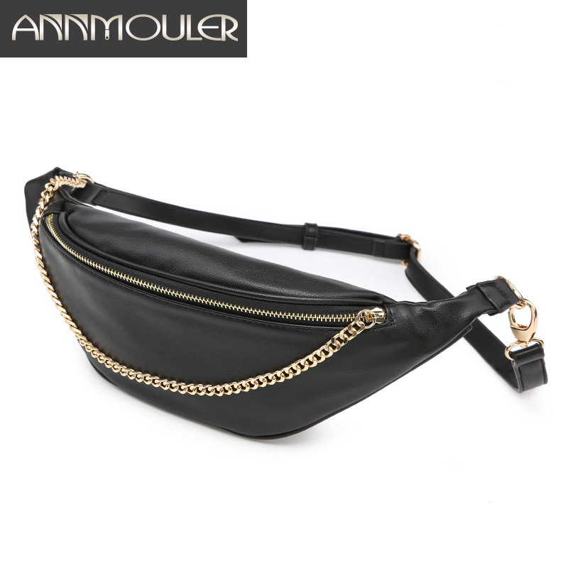 Annmouler New Women Waist Packs Fashion Black Fanny Packs Pu Leather Waist Bag With Chain Large Multinational Ladies Chest Bag