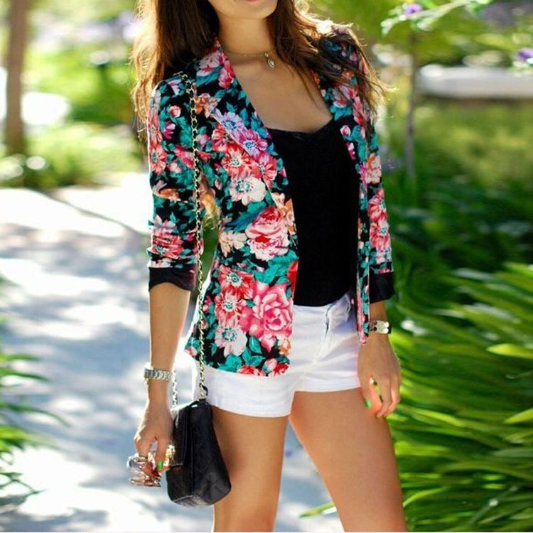 New Spring Autumn Floral Blazer Womens Ladies Stylish Flower Printed Chic Casual One Button Slim Suit Coat Jacket Blazer Outwear