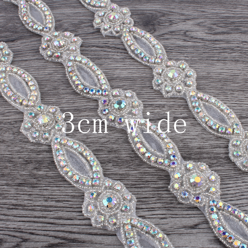 1Yard Fashion Bridal Costume Beaded Dress Trimming Decoration Bling Sew On Base  Crystal Rhinestone Applique Trim Accessories-in Rhinestones from Home ... 84b0514a2c27