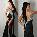 fashion luxury black long evening dress 2016 high slit v neck cap sleeve beaded women pageant gown formal prom party vestido