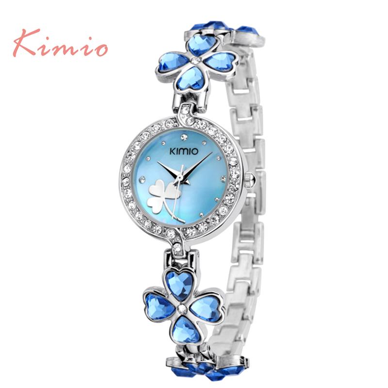 Prix pour Nouveau Kimio de luxe Femmes De Mode de quartz montre bracelet montre trèfle à Quatre feuilles bracelet Dames montres avec la boîte originale