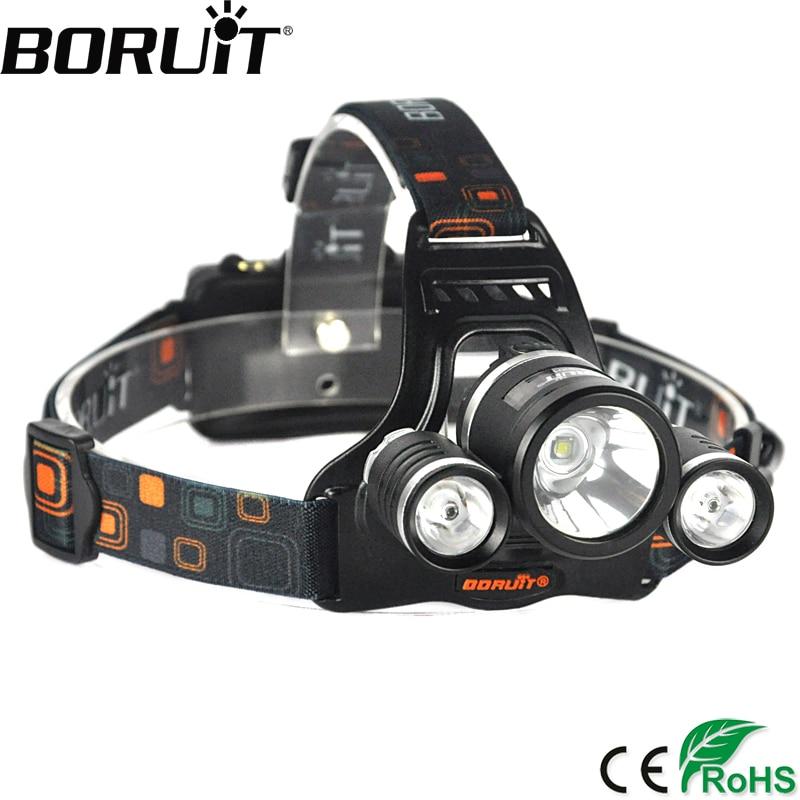 BORUiT RJ-3001 6000LM XM-L2 R5 LED Headlight 4-Mode Rechargeable Headlamp Hunting Camping Lantern 18650 Battery Flashlight boruit 1000lm xm l2 led headlight 4 mode zoom headlamp usb rechargeable head torch camping hunting flashlight 18650 battery