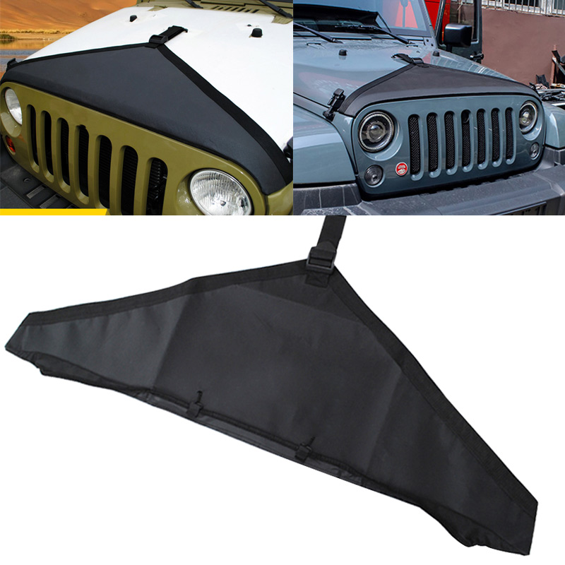 Car Styling Hood Cover Front End Bra Protector Kit For Mopar Jeep Wrangler JK  Car Engine Cover CSL2017 2 pcs black car styling parts front rear grab bar handles for jeep wrangler jk 2007 2017 new fashion upgraded