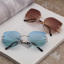 Metal Retro Sunglasses Irregular Trimming Frameless Sunglass Mirror Women And Mens Shade Eyewear Holiday Accessories 9032OLO