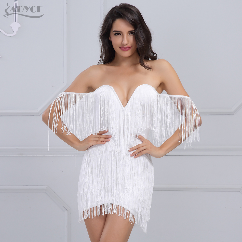 Adyce 2018 New Women Summer Bandage Dress Elegant Club Party Dress Sexy V Neck Off Shoulder Tassel Embellished Mini Fringe Dress