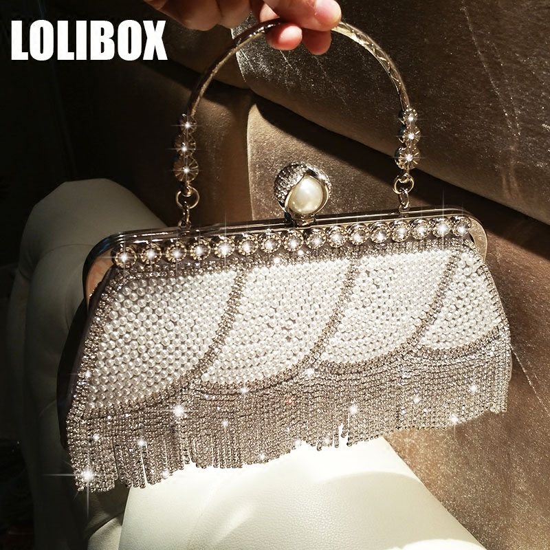 Women Evening Clutch Bag Diamond Tassel Pearl Dress Bag Ladies Hand Bag Women Shoulder Bags Crossbody For Party Day Clutches lolibox women bag rhinestone crown sequins glitter clutch bag crossbody bags for women day clutches ladies evening banquet bag