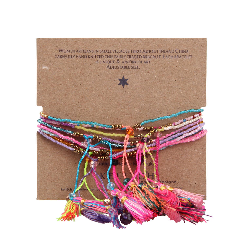 KELITCH 10 Pcs Multicolor rumbai Benih Beaded Gelang Handmade - Perhiasan fashion - Foto 5