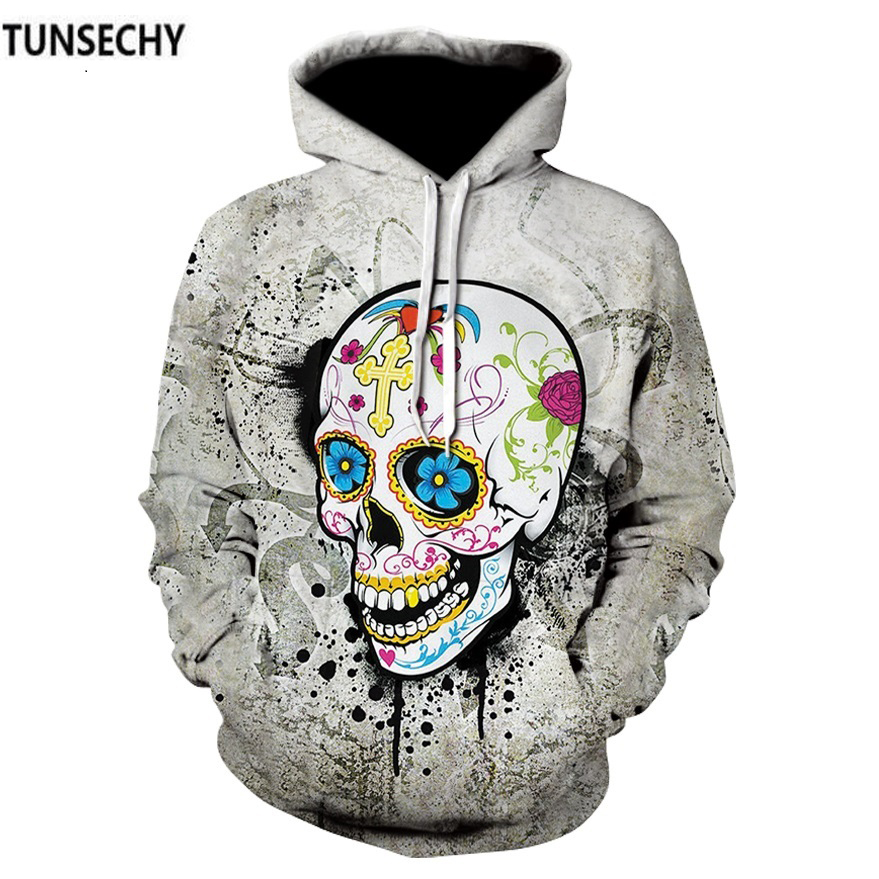 TUNSECHY Brand Skull Men Hoodies Sweatshirts 3D Digital printing Funny Hip HOP Hoodies Novelty Hooded Sweatshirts Tracksuits