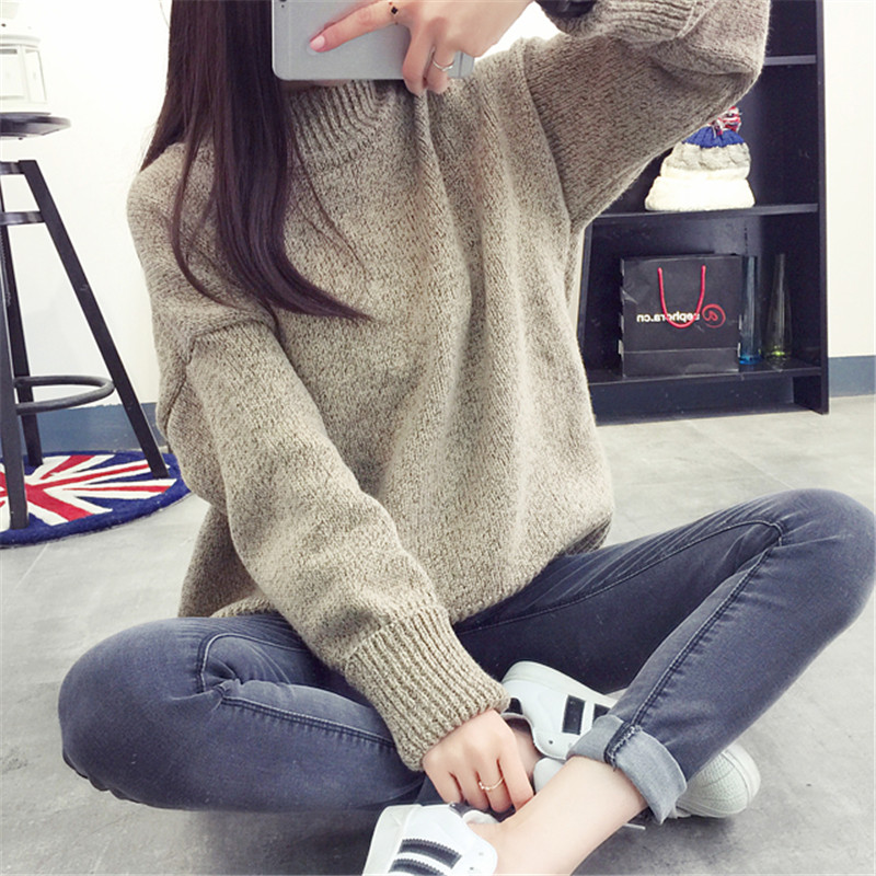 Autumn New Women Large Size Sweaters Long Sleeves Turtleneck Ladies Sweater Fashion Knitted Pullovers Female Warm Jumper FC3043