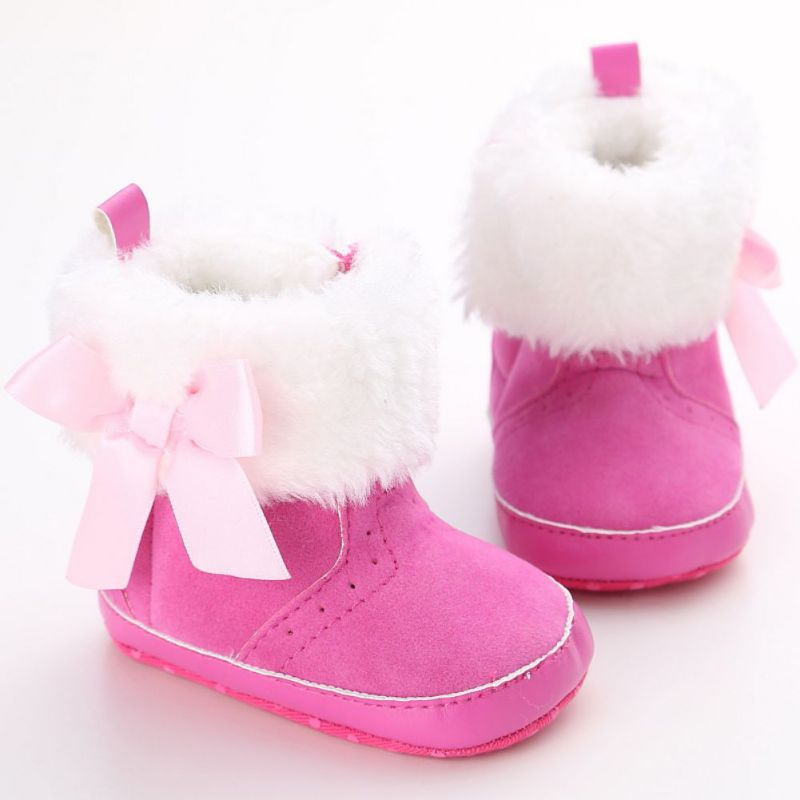 Beautiful Bow-Knot Plus Velvet Kids Shoes Round Toe Snow Boots For Baby Girl Boots For Winter 0-18 Months