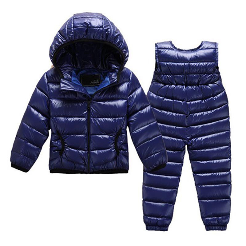 Down Ski Suits Kids Clothing Suit Set Children Down Jacket+Overalls Pants Clothes For Baby Boys Winter Suits For Girls snow wear retail 2014 2pc baby girls kids rabbit tops dot denim overalls dresses outfit clothes children s clothing set suits
