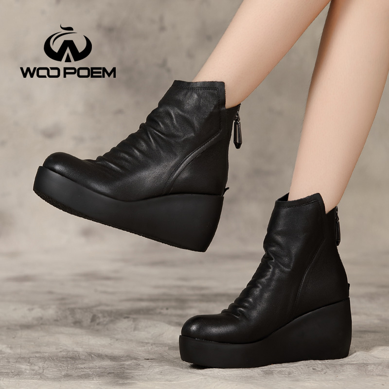 Ayakk.'ten Ayak Bileği Çizmeler'de 2017 Kış Ayakkabı Kadın Inek Deri Çizmeler Yüksek Topuk yarım çizmeler Platform Klasik Yüksekliği Artan Kadın Botları'da  Grup 2