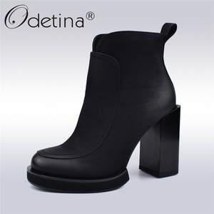 9b7bee3bdaa4 Odetina Autumn Winter Women Platform Ankle Boots Warm Shoes