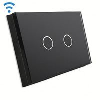 Bseed Wireless Touch Switch 2 Gang 1 Way Touch Dimmer With Remote Control Black Dimmable Switch