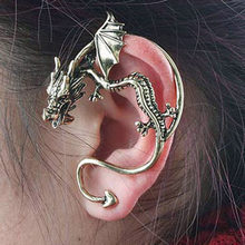 Retro Domineering Personality Stereo Kiss of The Dragon Male and Female Earring Ear Clip Clip ERN-1059(China)