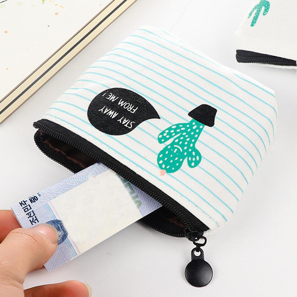 Coin Bag Card Purse Small Zipper Wallet Cute Canvas Money Clip Cactus The Swing Holder Purse Zip Key Case