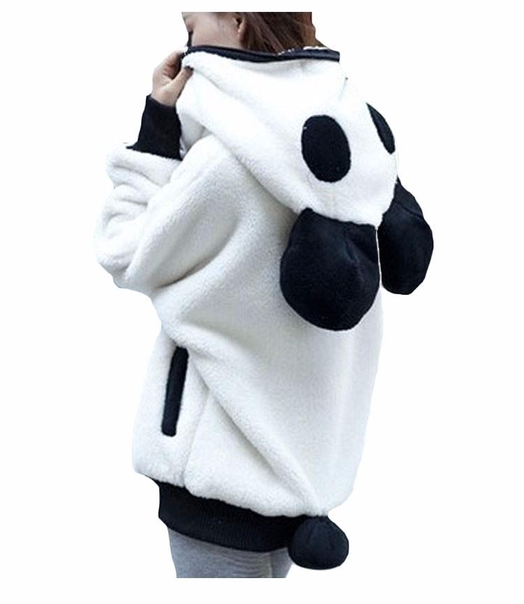 2017 Korea Zima Puszyste Panda Ucha Kobiety Swetry z Wełny Kaptur Batwing rękaw Bluza Dorywczo Słodkie Znosić sudadera mujer 4