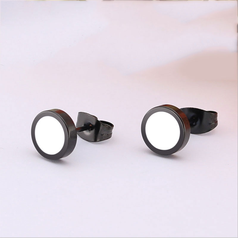 1Pair Simple Geometric Round Earrings With Black White Resin Stainless Steel Ear Studs H ...