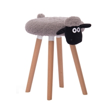 Creative wood makeup sheep shape stool Nordic style dressing shoes bench stool solid wood simple style dining stool household dressing and makeup stool multifunction wooden square stool change shoe bench