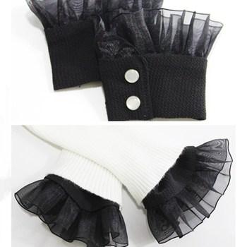 1Pair Chiffon Lace Ruffled Detachable Fake Cuffs Wrist Band Decorative Triming Fabric Sweater Sewing DIY BBB0583