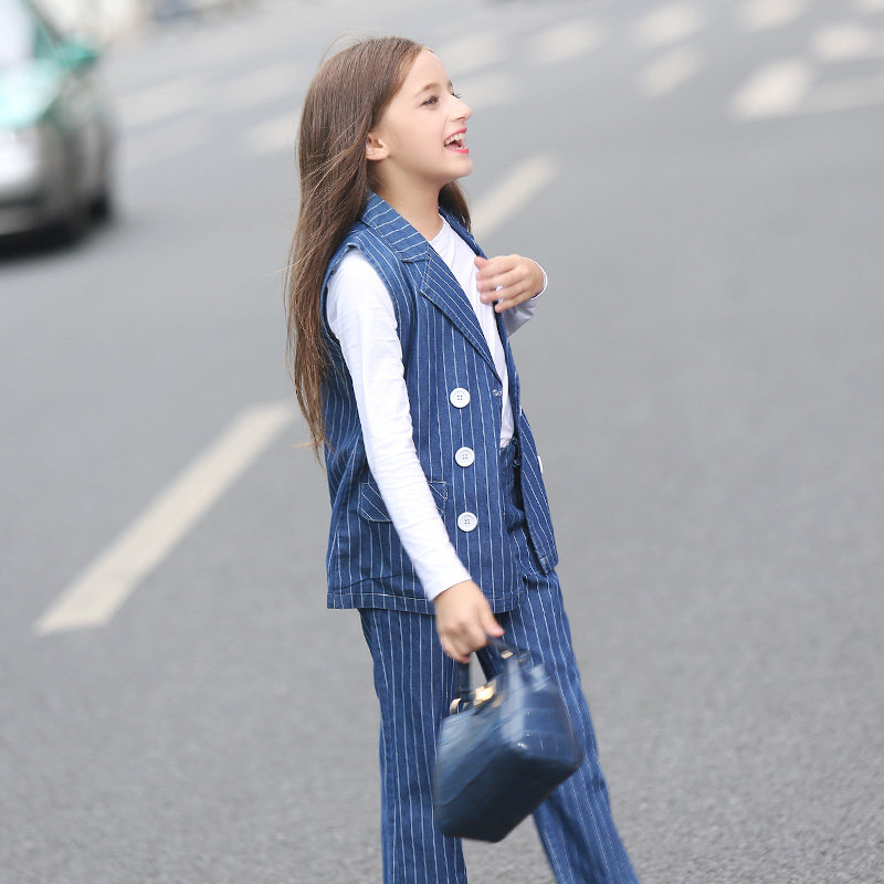 2016 Girls Christmas Costumes Kids Clothing Set for Teens Denim Striped Fashion Business Suit Age56789 10 11 12 13 14T Years Old 2017 autumn girls blouse ruffle hem flare sleeves blue striped letter design for teens at age 56789 10 11 12 13 14t years old