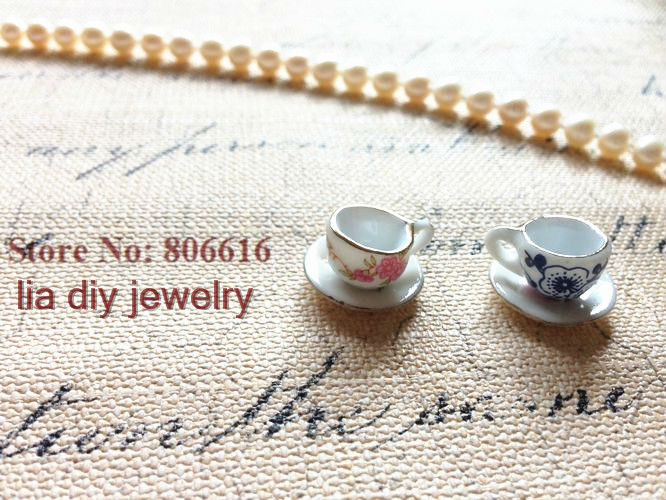 cup & saucer  20Pcs Handmade China Ceramic Bead Porcelain Beads Pendants Jewelry Accessories ...