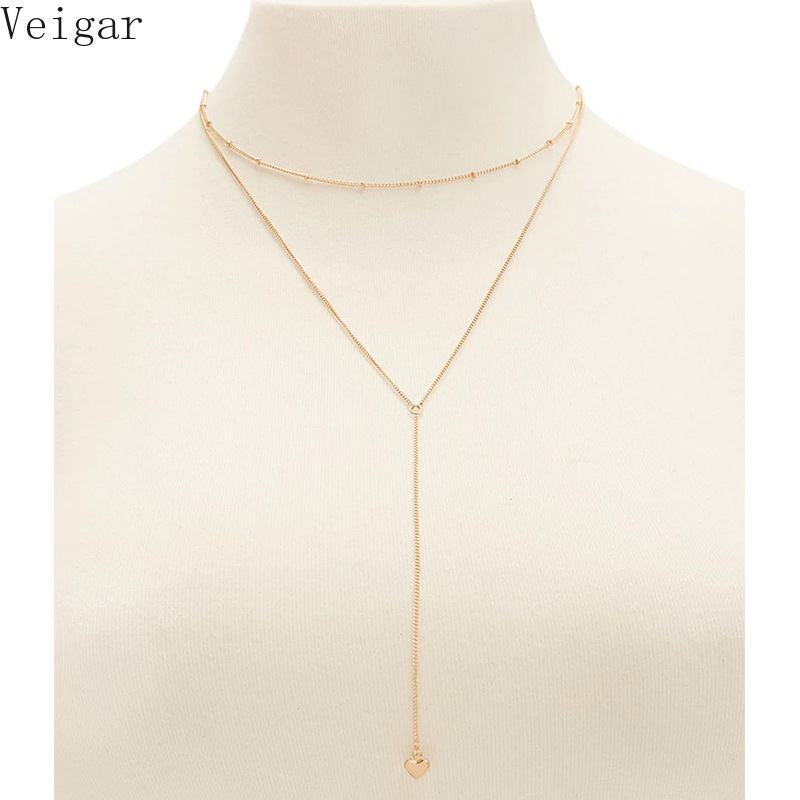 Women Beaded Choker Long Tassel Heart Pendant Necklace 2018 Fashion Jewelry Gold Silver Color Ladies Layered Necklace Collane