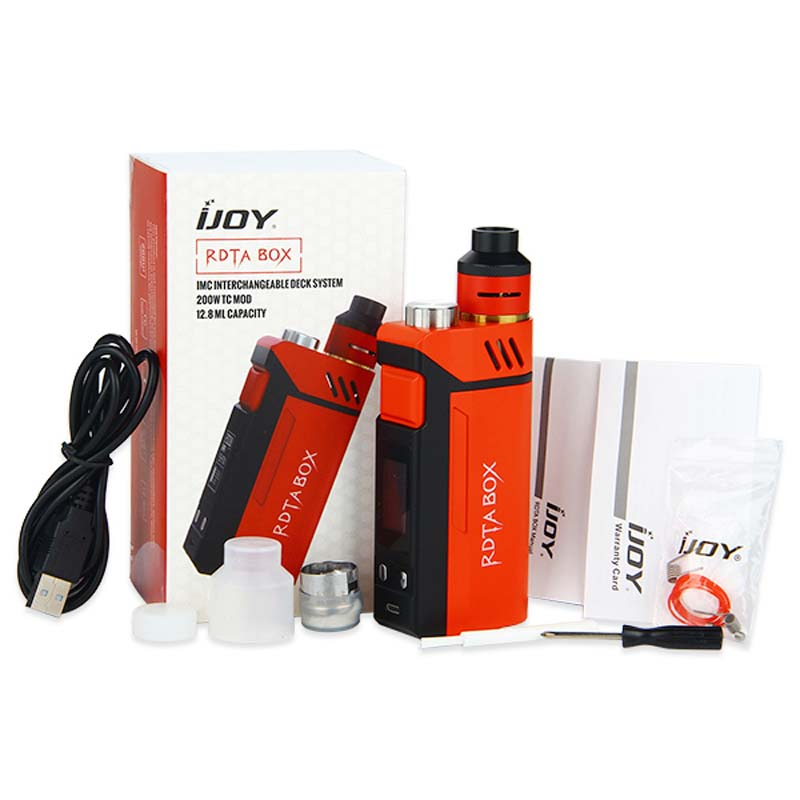 ФОТО 100% Original IJOY RDTA BOX Kit 200W with 12.8ml Large e-juice tank & 220W RDTA BOX MOD & IMC-3 / IMC-Coil 3 coil E-Cig Vape Mod