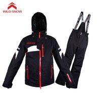 Дикий Снег профессиональный лыжный костюм водонепроницаемый ветрозащитный зимний костюм мужской зимний лыжный костюм куртка для сноуборд
