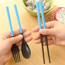 Portable Colorful Dinnerware Set Europe Style Tableware Folding Cutlery Fork Set For Outdoor Camping Travel Tableware
