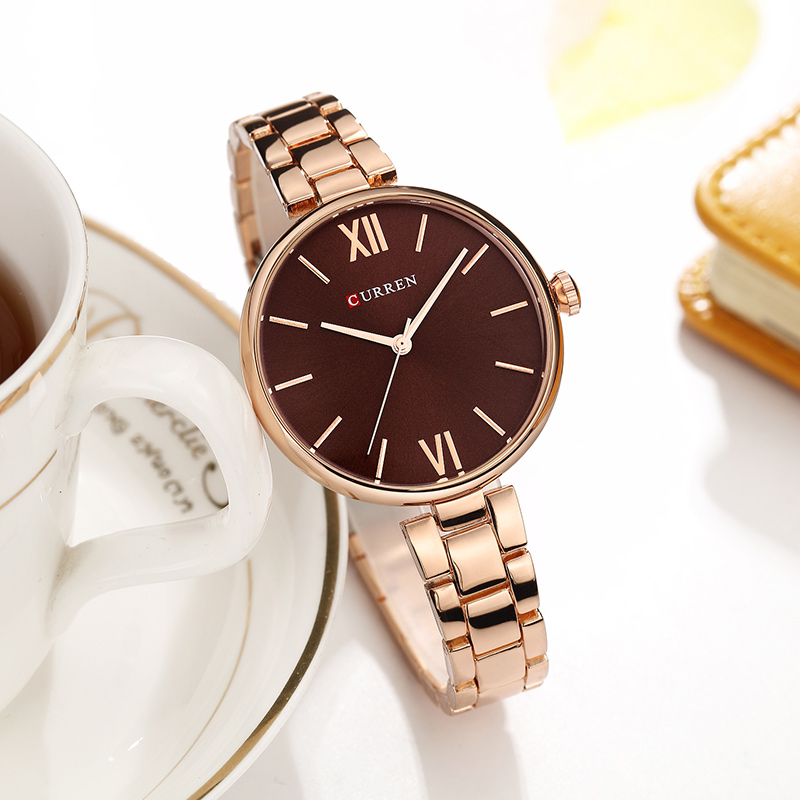 CURREN 9017 New Women Watches Luxury Brand Watch Rose Gold Women Quartz Clock Creative Wood Pattern Dial Fashion Wristwatch