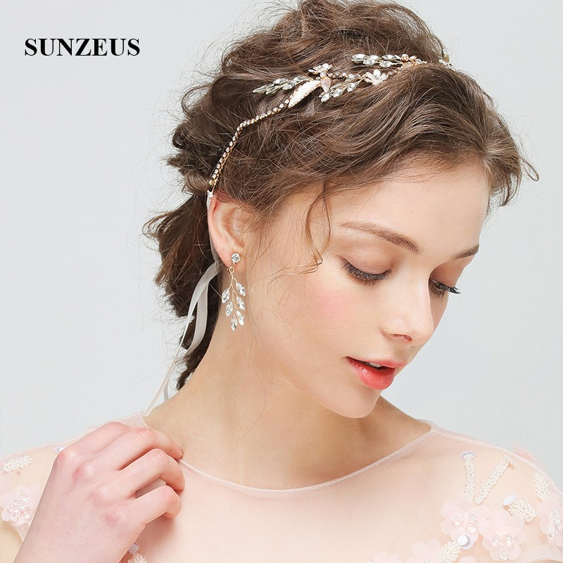 Flowers Crystals Gold Leaves Bridal Headband With Ribbons Headband And Earrings Wedding Set Girls Party Hair Decoration SHA40