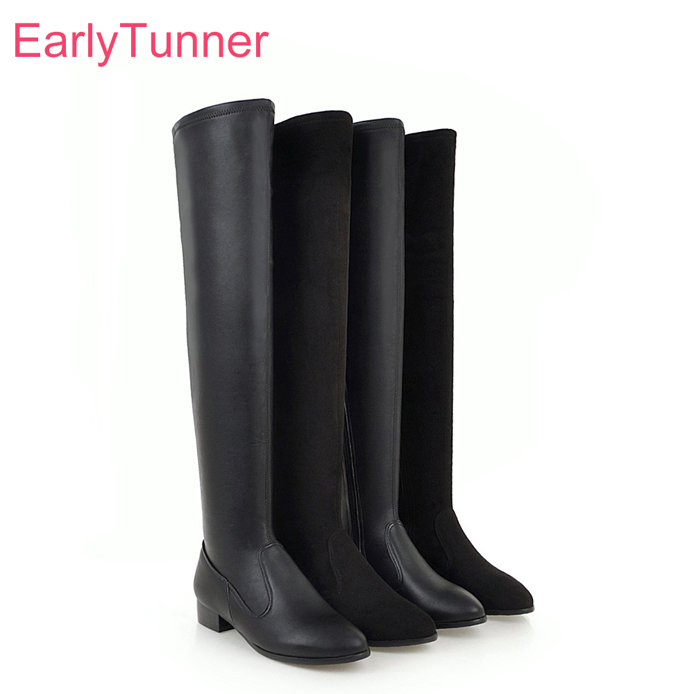 2018 Brand New Sexy Round Toe Black Women Over the Knee Boots Fashion Low Heels Lady Party Shoes EL812 Plus Big Size 10 33 43 48 brand new sexy women motorcycle boots black red beige white lady ankle riding shoes fashion nude heels ay902 plus big size 43 48