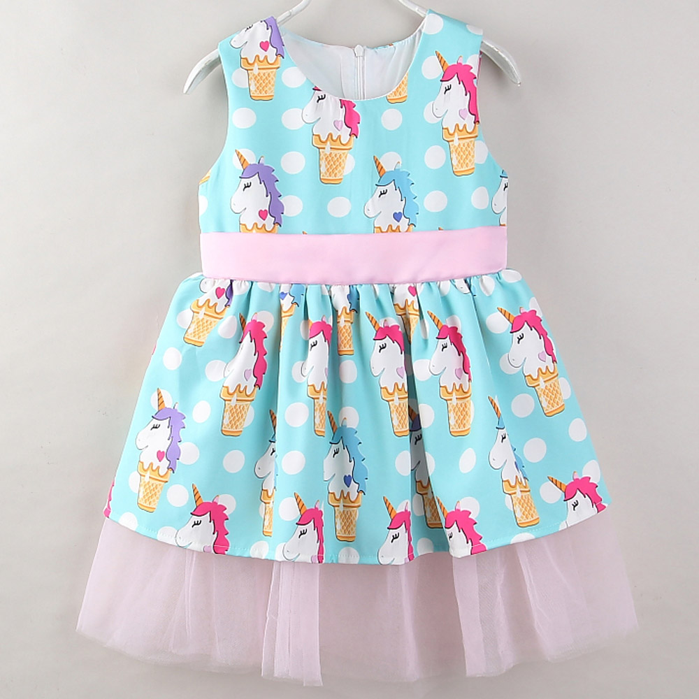 Girls Dress 2018 New Summer Casual Style Cartoon Unicorn Bowknot ...