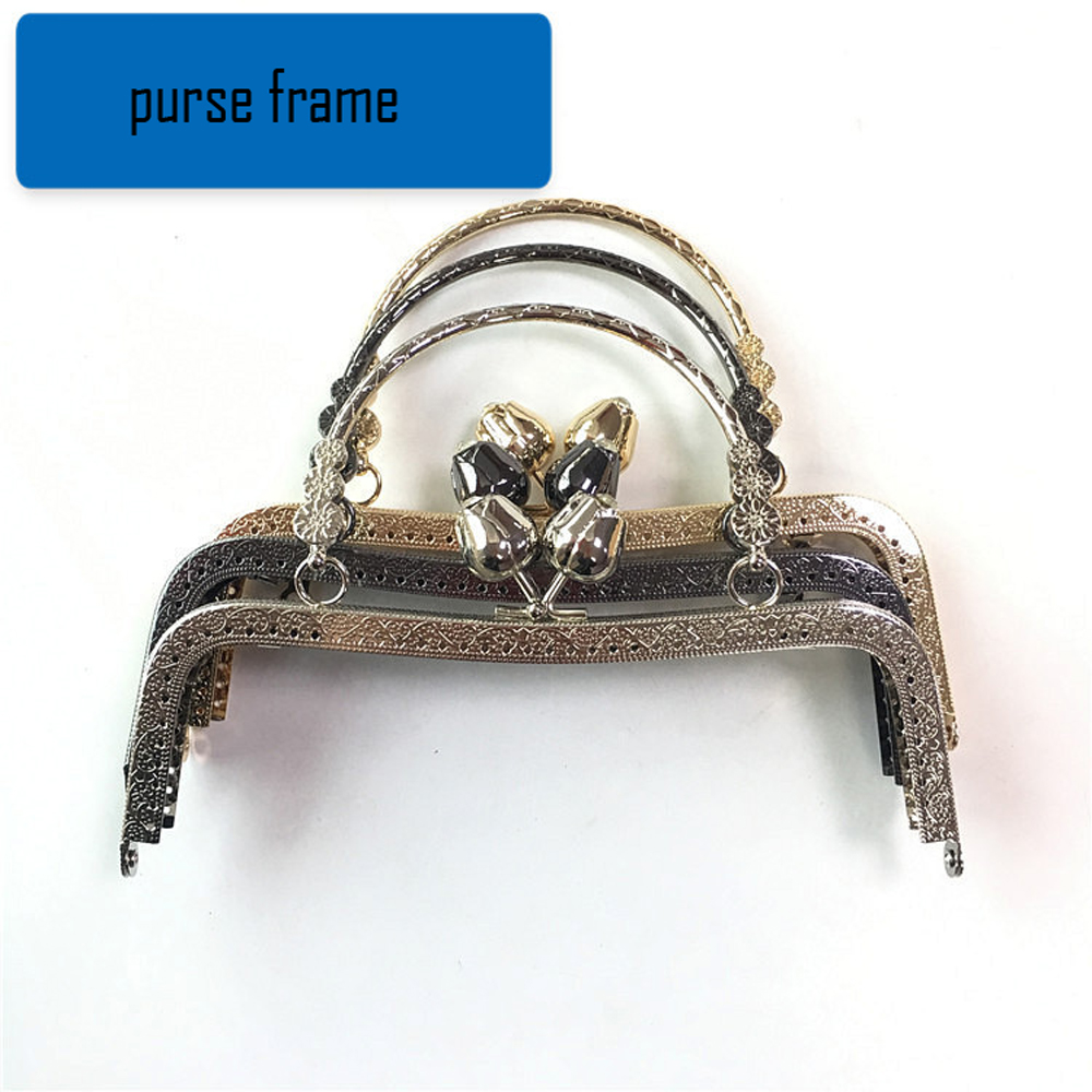 20cm Flower Bloom Kiss Buckle Women Coin Bag Making Accessories Purse Frame Clasp 3pcs/lot With Metal O Ring Handle